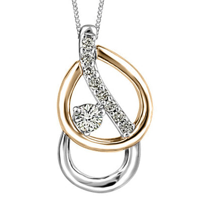Overlap Two-Tone Diamond Pendant