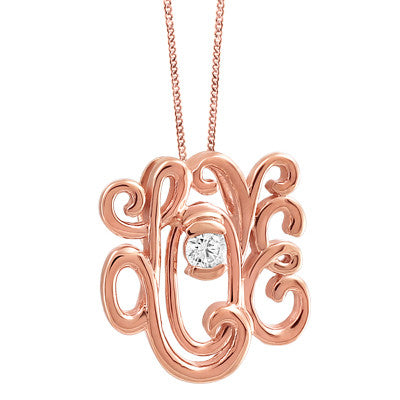 Love Scrolled Diamond Pendant