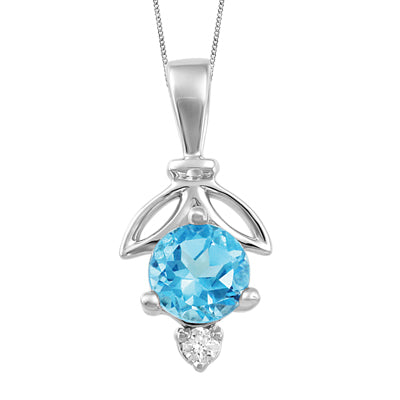 White Gold Blue Topaz and Diamond Leaf Pendant