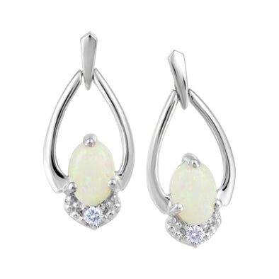 Opal and Diamond White Gold Earrings