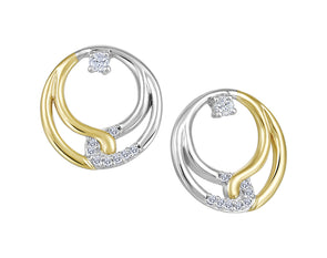 Double Circle Diamond Earrings in White and Yellow Gold