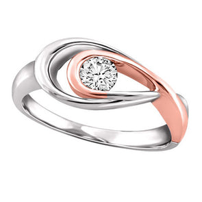 Double Loop Flat-Top Rose And White Gold Canadian Diamond Ring