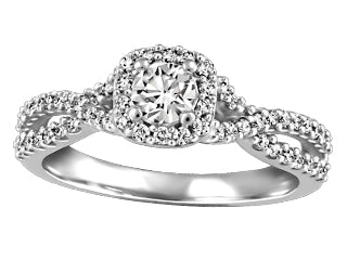 Twisted Diamond And Halo Engagement Ring