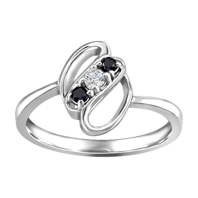 Black and White Diamond Past Present and Future Ring