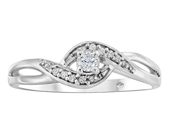 Bypass Twisted Shank Diamond Ring
