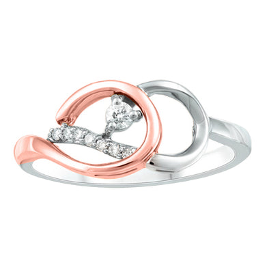 Double Wrapping Rose And White Gold Canadian Diamond Ring