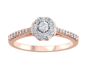 Rose Gold Cluster Diamond Halo Engagement Ring
