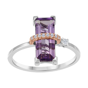 Amethyst Rose Wrapped Diamond Ring
