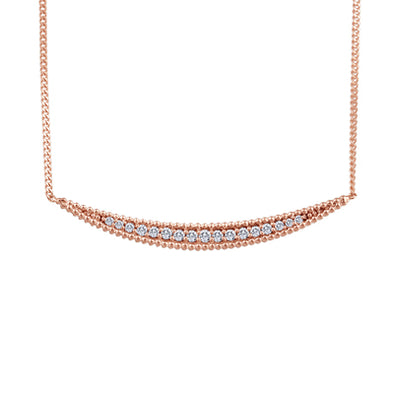 Curved Vintage Diamond Bar Rose Gold