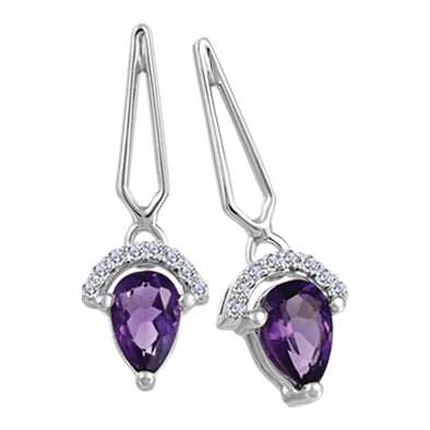 Amethyst and Diamond Stud Earrings