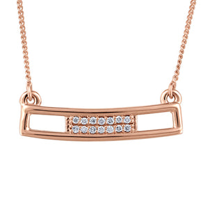 Hollow Diamond Bar Rose Gold