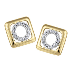 Circle in Square Diamond Stud Earrings