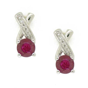 Crossed Diamond And Ruby Stud Earrings