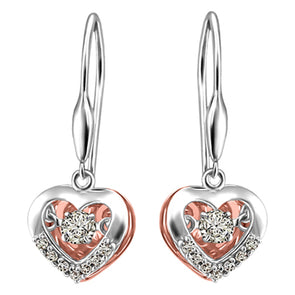 Canadian Diamond Love In Motion Heart Set in White and Rose Gold