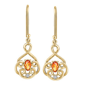 Citrine And Yellow Gold Looping Diamond Earrings