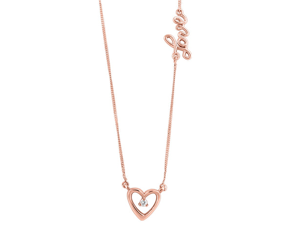 Diamond and Rose Gold Heart Love Pendant