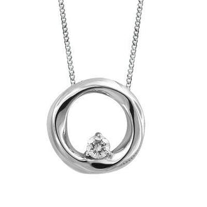 Circle White Gold  Diamond Pendant