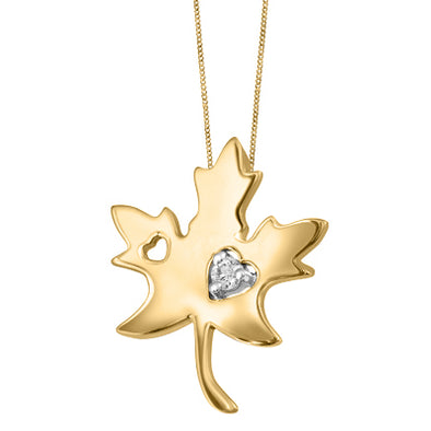 Maple Leaf Pendant with Heart Cutout
