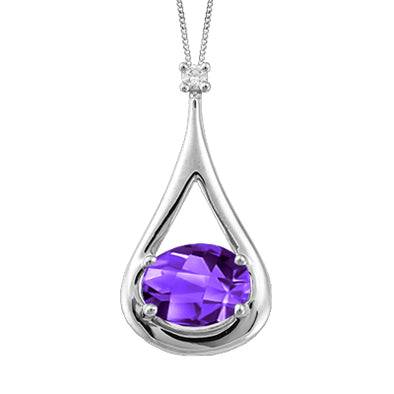 Amethyst And Diamond Teardrop Pendant