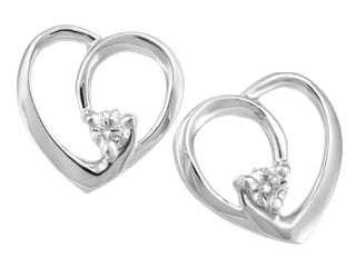 White Gold Canadian Diamond Heart Earrings