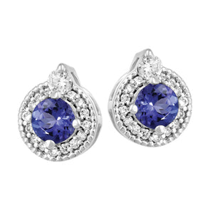 Tanzanite and Diamond Halo Stud Earrings in White Gold