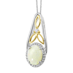 Opal and Diamond Two Tone Necklace