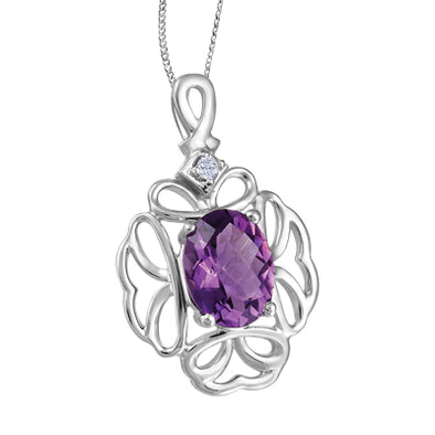 Amethyst And Diamond Floral Pendant