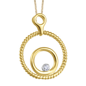Canadian Diamond Double Circle Pendant in Yellow Gold