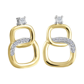 Interlocking Cushion Diamond Stud Earrings