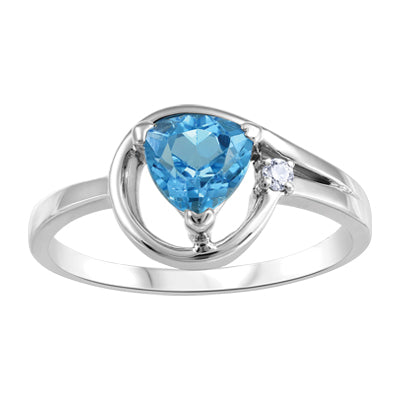 Blue Topaz Trillion and Diamond in White Gold