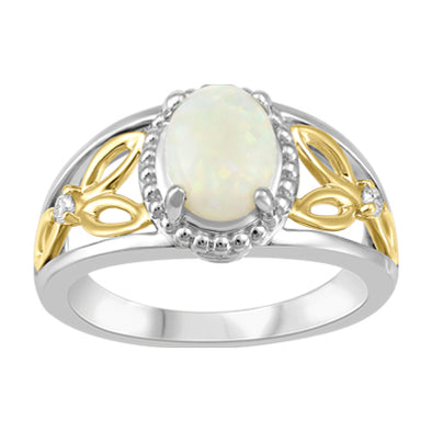 Opal and Diamond Two Tone Ring