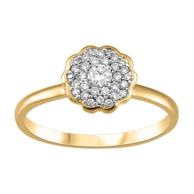 Pave Flower Canadian Diamond Ring in Yellow Gold