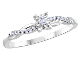 Twisted Shank Illusion Set Canadian Diamond Ring