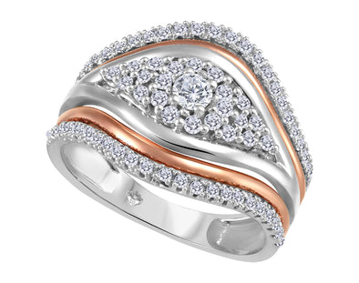 Accented Two-Tone Diamond Ring