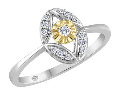 Two-Tone Diamond Set Ring With Halo