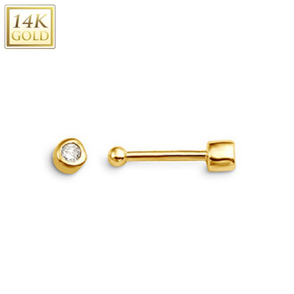 14KT Solid Gold & Diamond Ball End Nose Stud