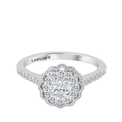Floral Round Canadian Diamond Halo Engagement Ring