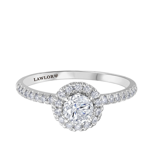 Round Canadian Diamond Halo Foral Engagment Ring