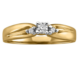Petite 3 Stone Canadian Diamond Ring