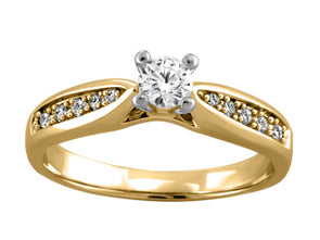 Classic Ski Tip Solitaire Diamond Ring