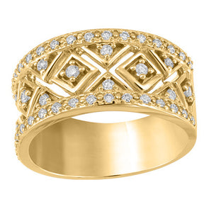 Geometric Wide Yellow Gold  Band