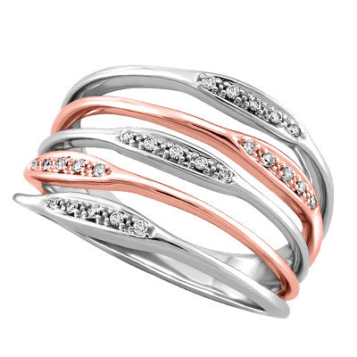 Multi Row Rose And White Gold Ring