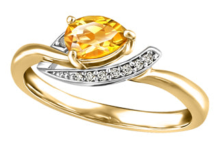 Citrine Pear Shaped Ring