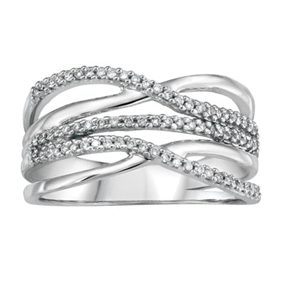 Wide Style Criss Cross Diamond Ring set in White Gold