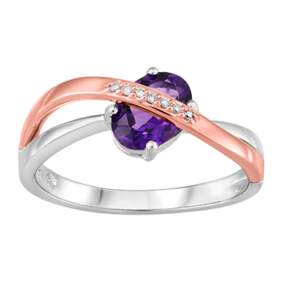 Amethyst Rose And White Gold Diamond Set Ring