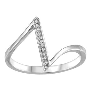 Angular White Gold Wide Diamond Ring