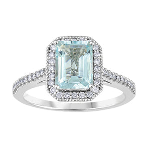 Aquamarine And Diamond Halo Ring in White Gold
