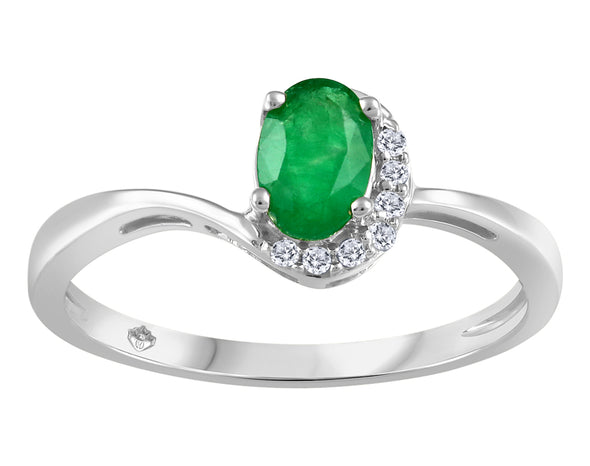 Emerald Half Halo Ring