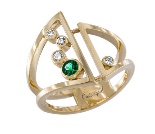 Abstract Emerald and Diamond Designer Ring