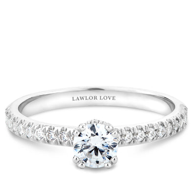 Solitaire Pave Collared Engagement Ring